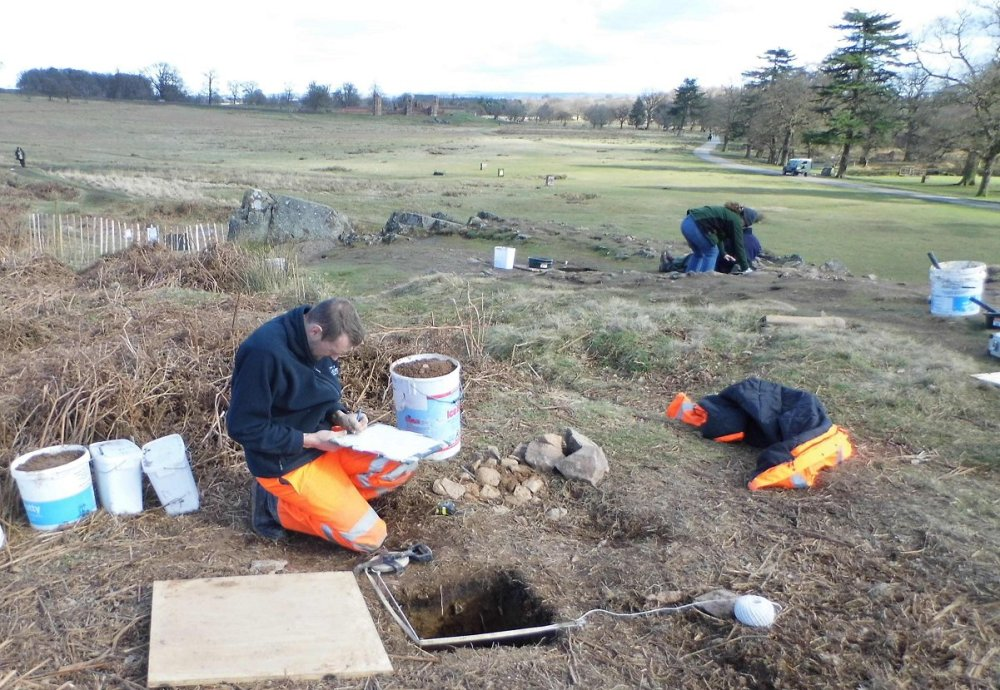 Archaeologists working on the site in Bradgate Park.