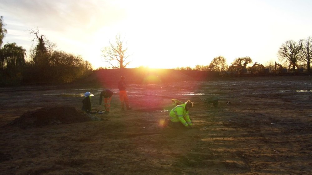 Excavating Enclosure A as the sun sets