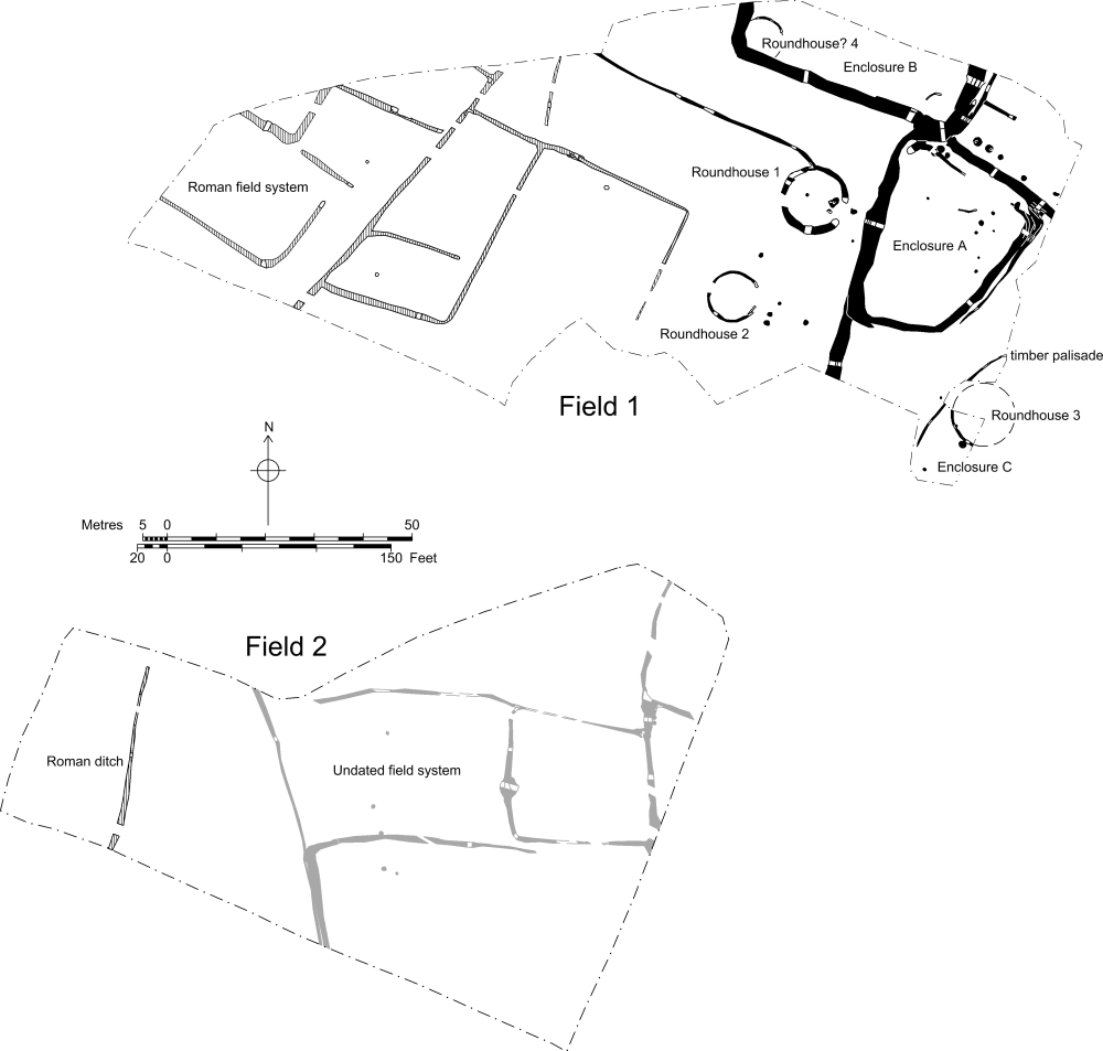 Plan of the Iron Age and Roman landscape.