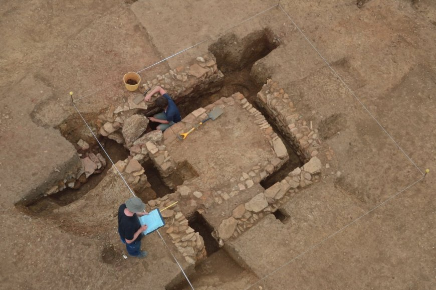 View of the stone 'smoke-house' from above (image courtesy of Aerial Cam).