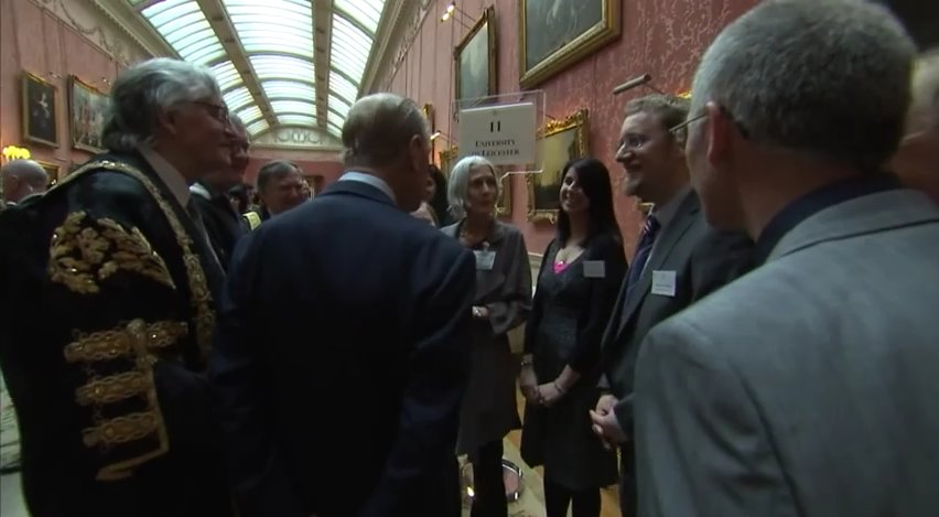 ULAS staff chatting with the Duke of Edinburgh at Buckingham Palace.