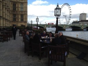 Lunch at the Houses of Parliament (red bus and policeman specially arranged for photo...).