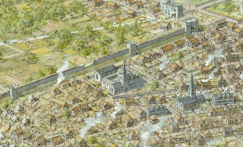Reconstruction of Grey Friars in medieval Leicester c.1450, looking south-west. Artwork by Mike Codd