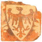 A 13th century floor tile from the friary church, depicting an eagle on a shield.