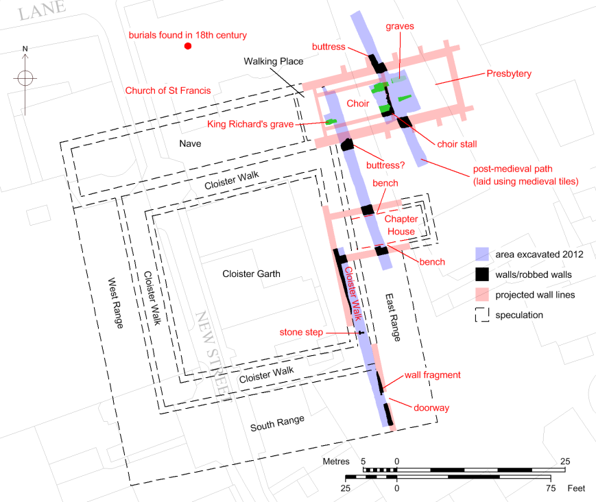A plan of the Grey Friars friary, based on evidence from the 2012 excavation.
