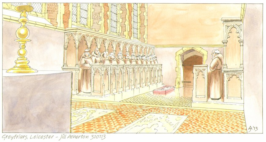 Artist's reconstruction of the choir of the Grey Friars church looking west, showing the arrangement of the choir and presbytery and the alabaster slab laid over the burial place of Richard III. Artwork by Jill Atherton.
