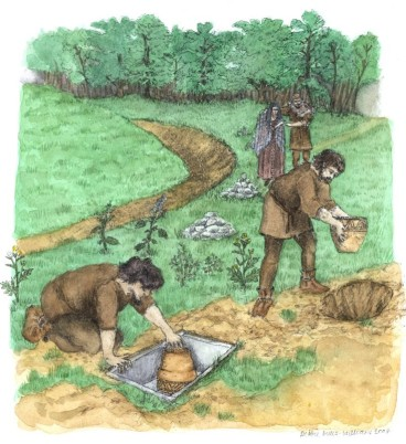 The Bronze Age cremation cemetery adjacent to Barrow 1. Artwork by Debbie Miles-Williams.