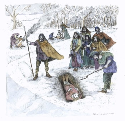 An Anglo-Saxon burial at Barrow 3. Artwork by Debbie Miles-Williams.