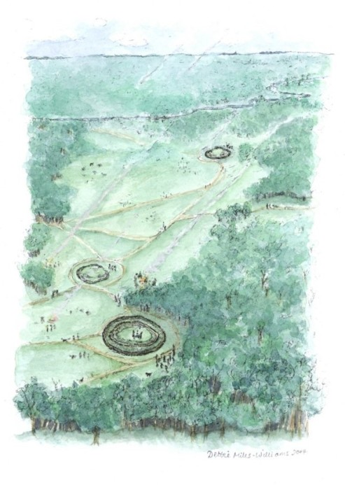 The Cossington Bronze Age barrow cemetery. Artwork by Debbie Miles-Williams.