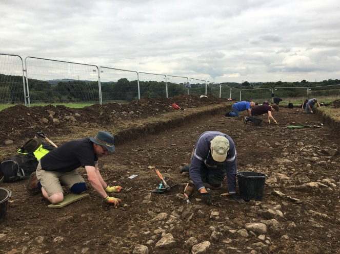 Stone 'yard' surfaces being uncovered in Trench 3