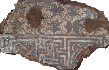 the mosaic floor is cleaned and photographed...