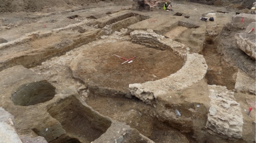 A curious Roman circular structure at Merlin Works, Bath Lane.