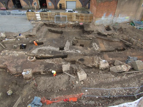 Looking east at stone structures probably associated with the medieval Blackfriars.
