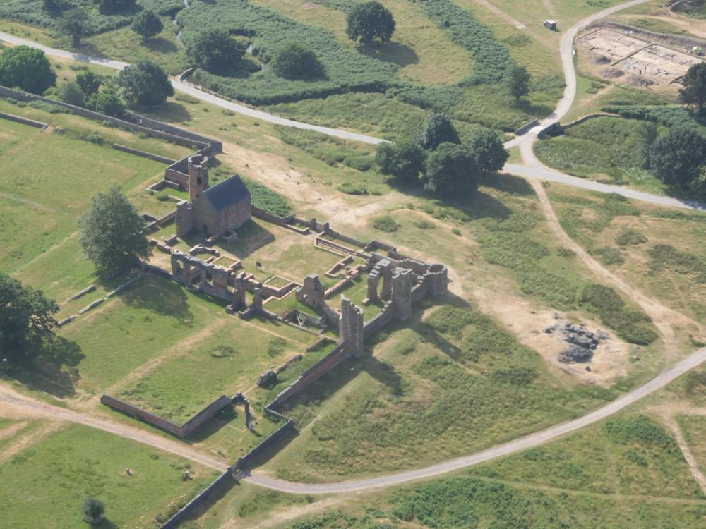 An aerial view south-east across the ruins of Bradgate House towards the 2018 excavation which can be seen in the top right.
