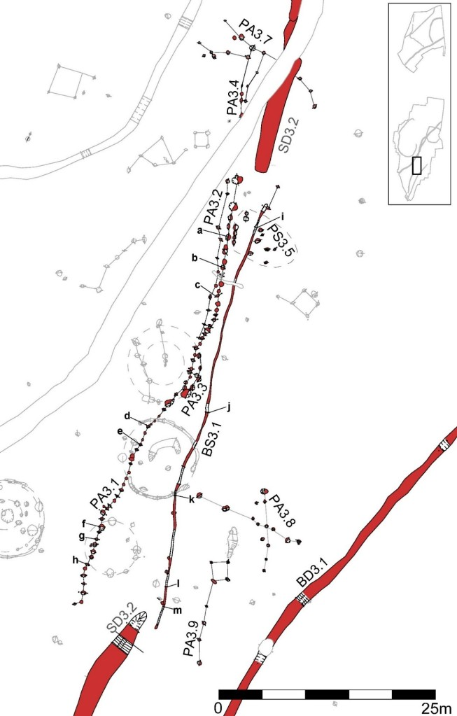 Plan of the Early Iron Age boundary features recorded on site.