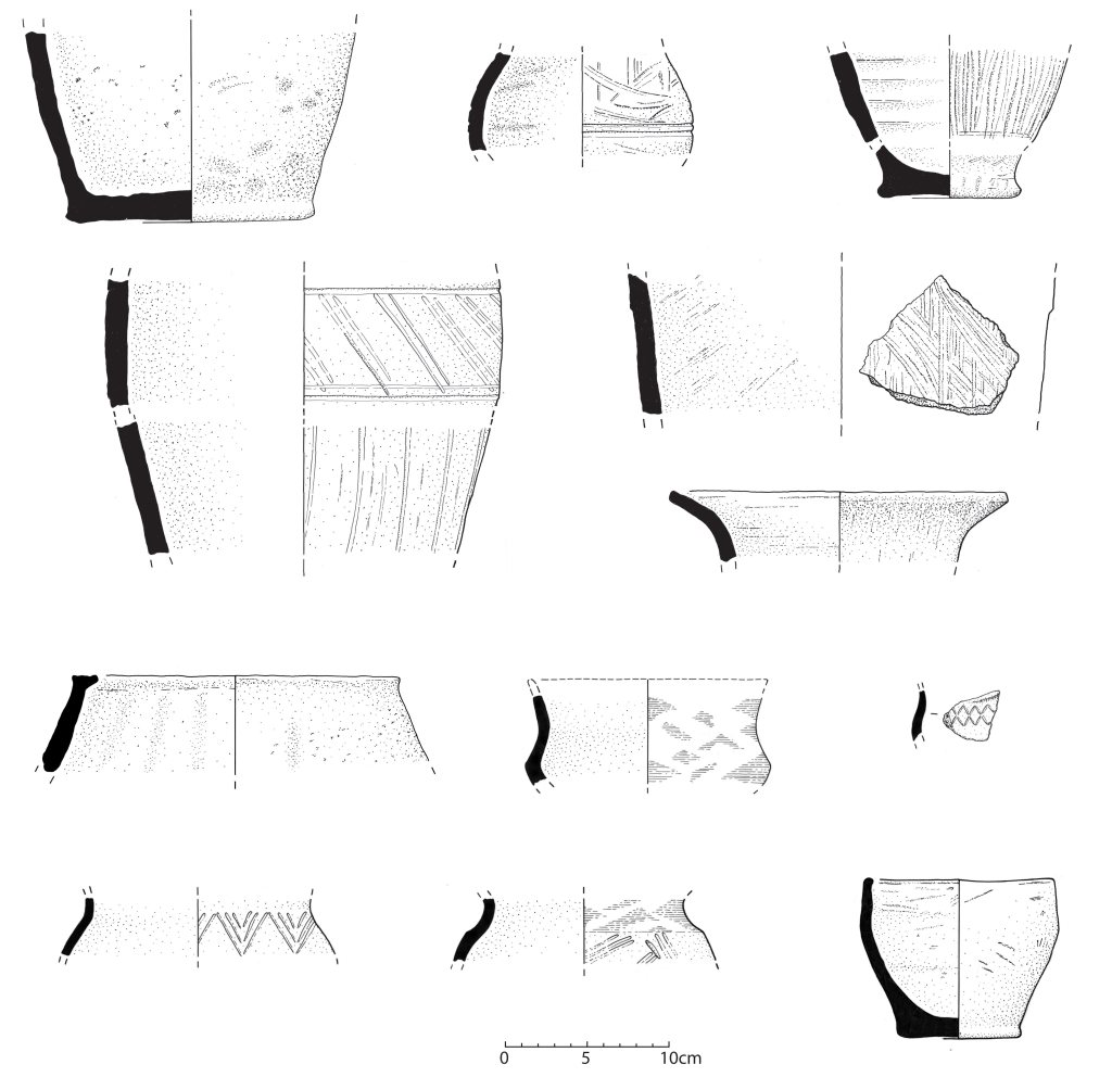 Drawings of some of the Mid-Late Iron Age pottery from site.