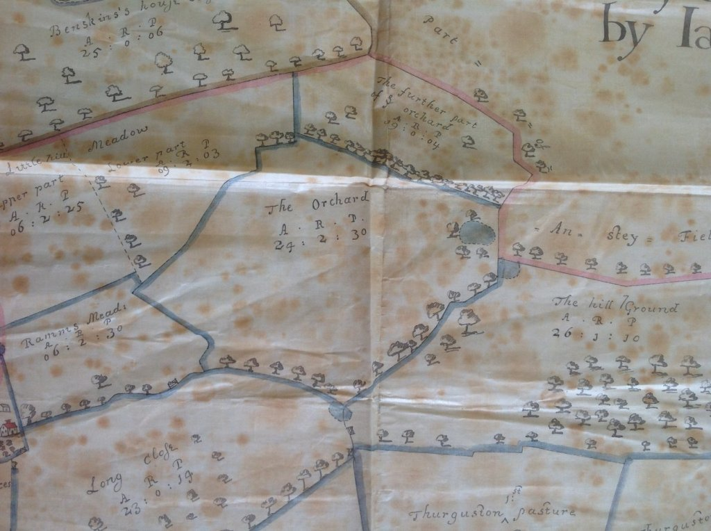 Detail from James Fish's 1686 map of the Beaumont Leys estate showing the Castle Hill field labelled 'The Orchard'.