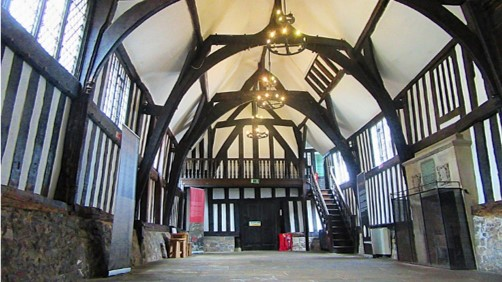 A photograph showing inside Leicester's late 14th-century guildhall.