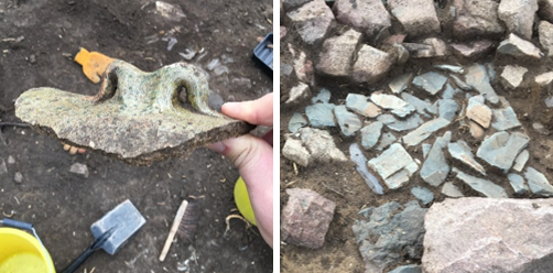 Photographs of a broken ceramic ridge tile with a decorative 'horn' finial and broken roof slates left piled against the wall of the manor house.
