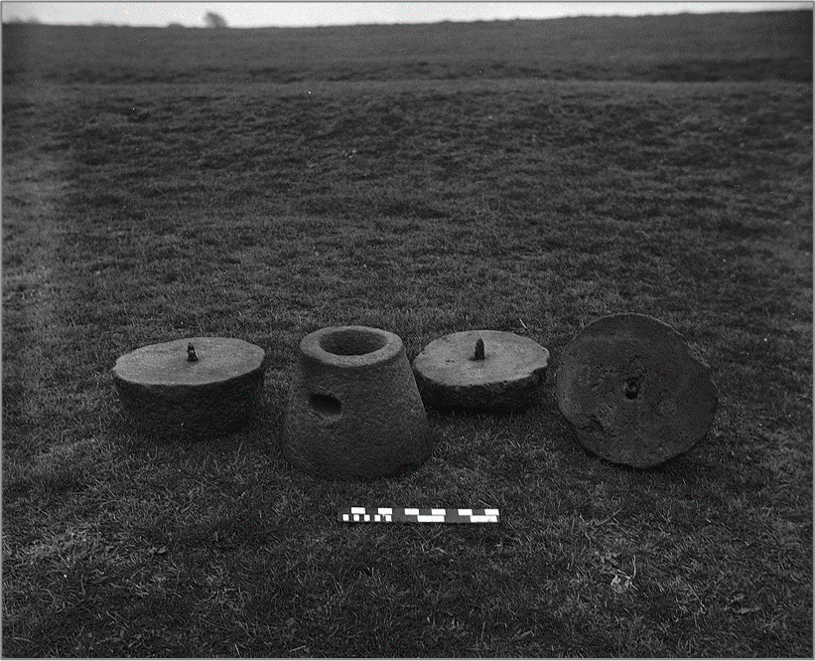 Two complete rotary quernstones discovered during pit excavations in the 1960s. Image: ULAS