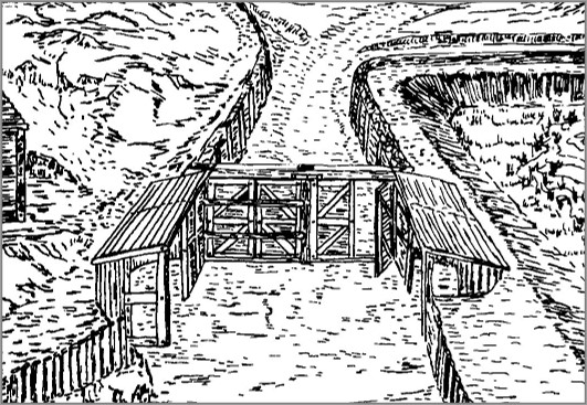 Artists impression of a passaged entrance to a hillfort with gates and guard chambers.
